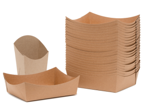 TrayToGo take out containers, paper takeout containers, take out french fry container, paper trays for take out, kraft paper take out trays